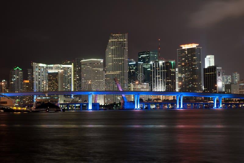 Miami skyline illuminated at night royalty free stock photos