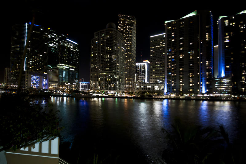 Miami Skyline Night royalty free stock image