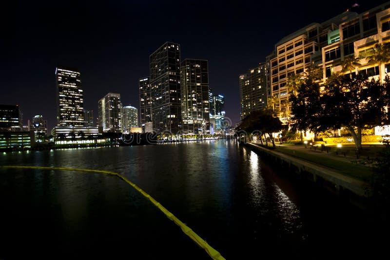 Miami Skyline Night. Downtown Miami Skyline with lights and water - shot at Night - Miami (USA - 2010 stock photos