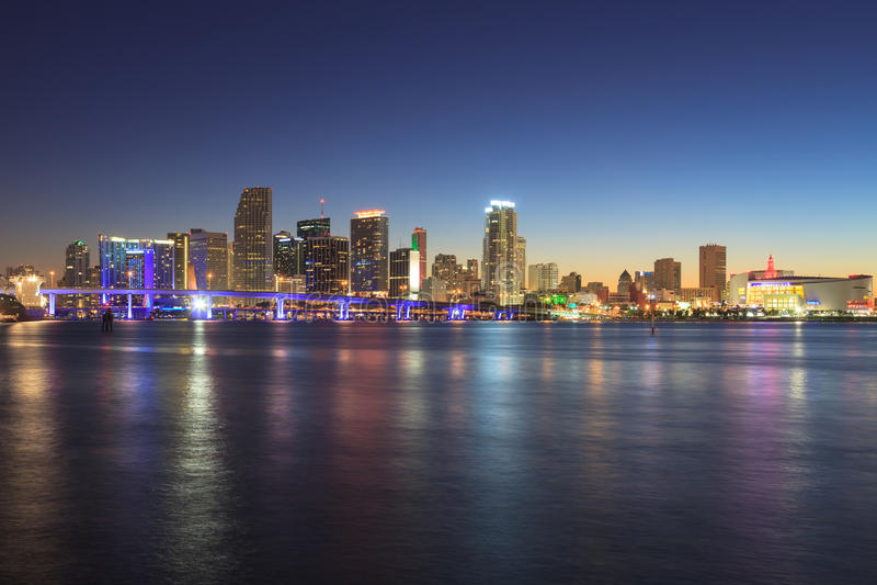 Miami Skyline At Night Royalty Free Stock Photography