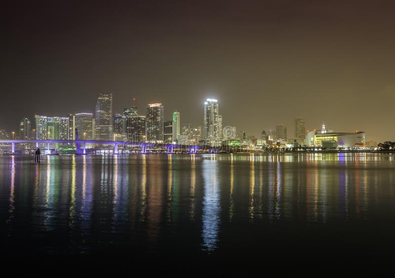 Miami skyline by night royalty free stock image