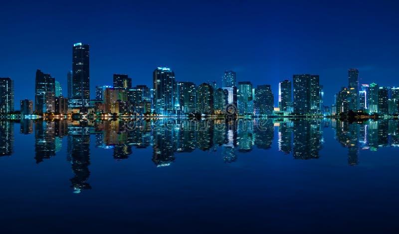 Miami skyline night panorama royalty free stock photography