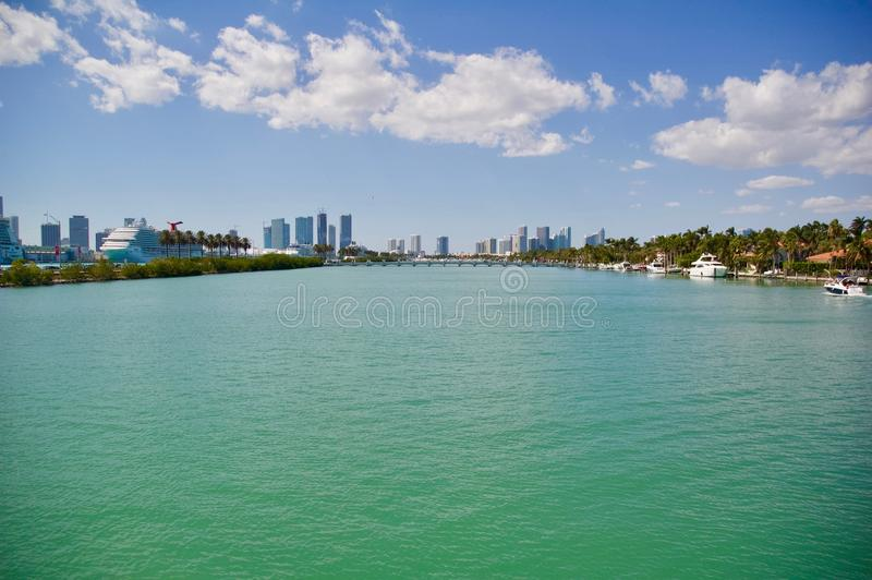 Miami Skyline Ocean Views royalty free stock photography