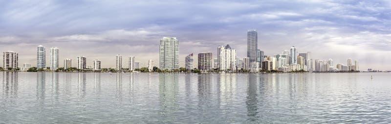 Miami skyline panorama from Biscayne Bay royalty free stock photo
