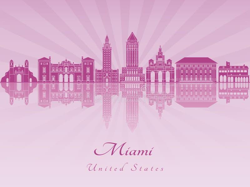 Miami skyline in purple radiant orchid. In editable vector file vector illustration