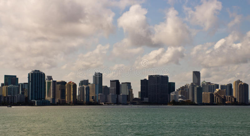 Miami skyline on a sunny day. In Florida, USA royalty free stock images