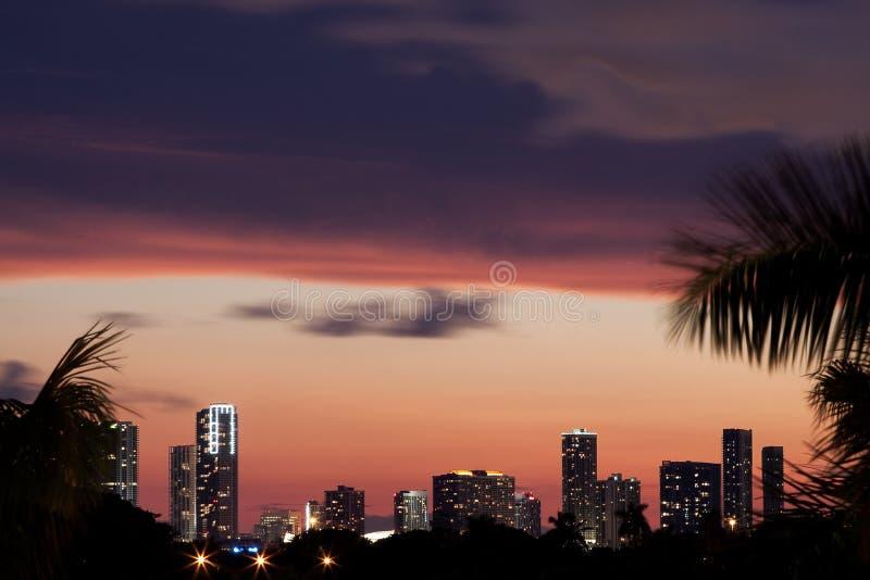 Miami Skyline At Sunset Royalty Free Stock Photos