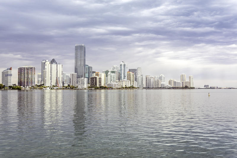 Miami skyline view from Biscayne Bay royalty free stock photo