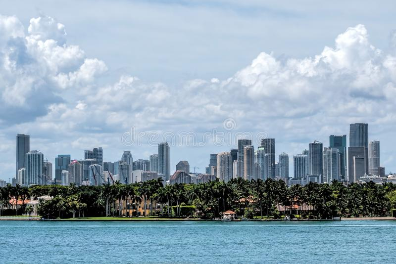 Miami Skyline. View of the Miami Skyline with offices and Apartments royalty free stock image