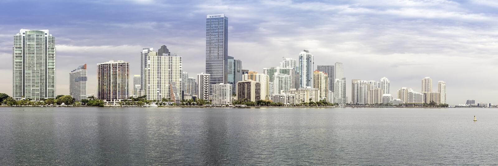 Miami skylinepanorama from Biscayne Bay royalty free stock photography