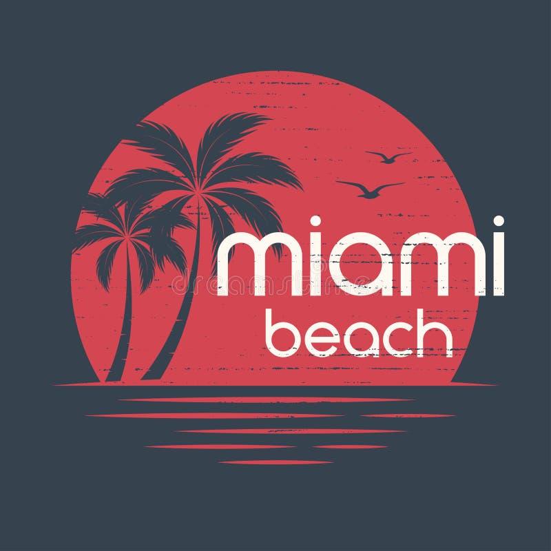 Miami solnedgång T-tröja- och dräktvektorn planlägger, skrivar ut, typograp royaltyfri illustrationer