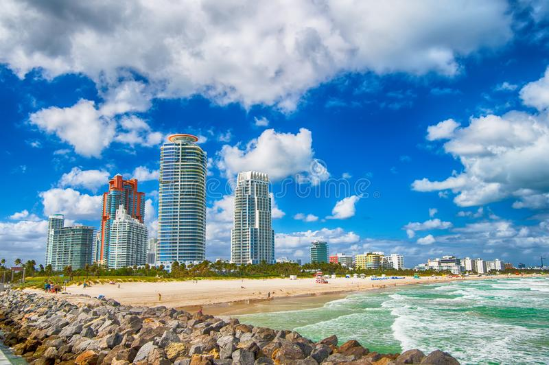 Miami or south Beach Florida. Luxury apartments and waterway. vacation and travel concept royalty free stock photography