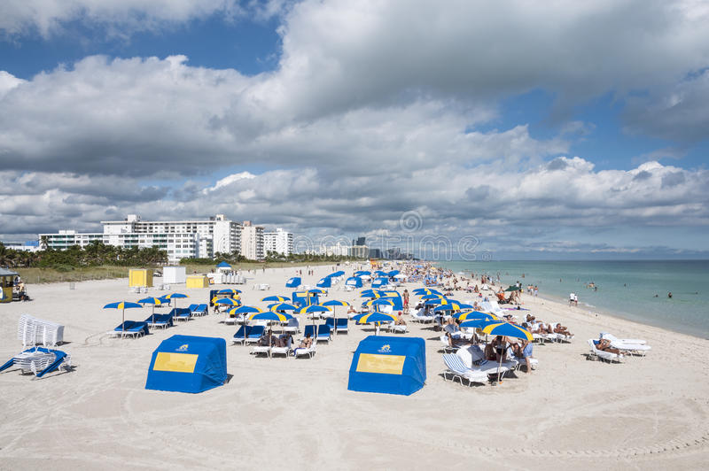Miami South Beach, Florida. People relaxing at the South Beach in Miami, Florida, USA stock photo