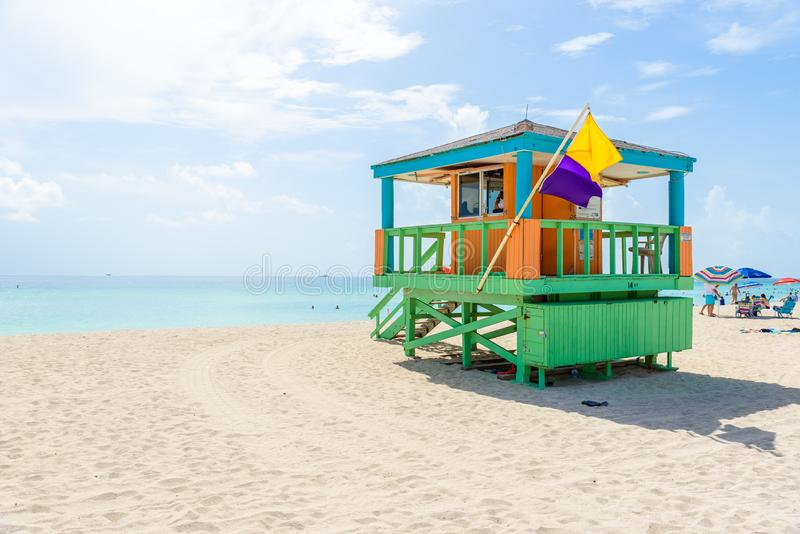Miami South Beach, lifeguard house in a colorful Art Deco style at sunny summer day with the Caribbean sea in background, world stock photography