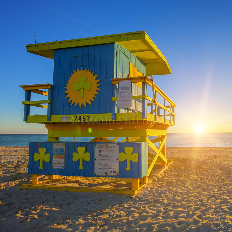Miami South Beach sunrise with lifeguard tower. USA stock image