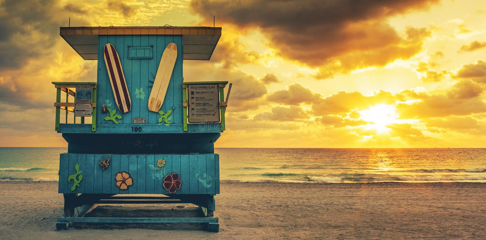 Miami South Beach sunrise with lifeguard tower. USA stock photography