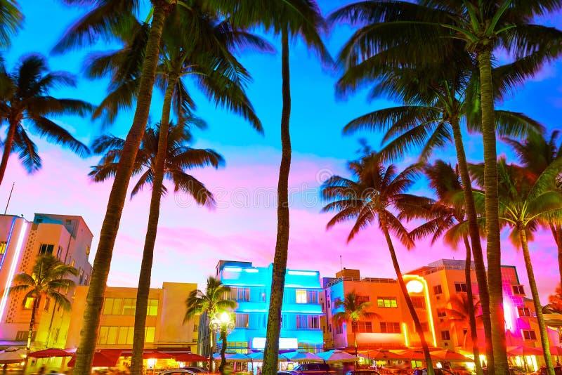 Miami South Beach sunset Ocean Drive Florida. Miami Beach South Beach sunset in Ocean Drive Florida Art Deco stock photo