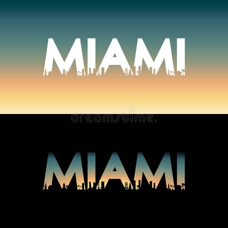 Miami stadsetikett royaltyfri illustrationer