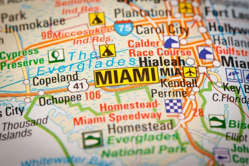 Miami-Stadt auf einer Straßenkarte stockbild