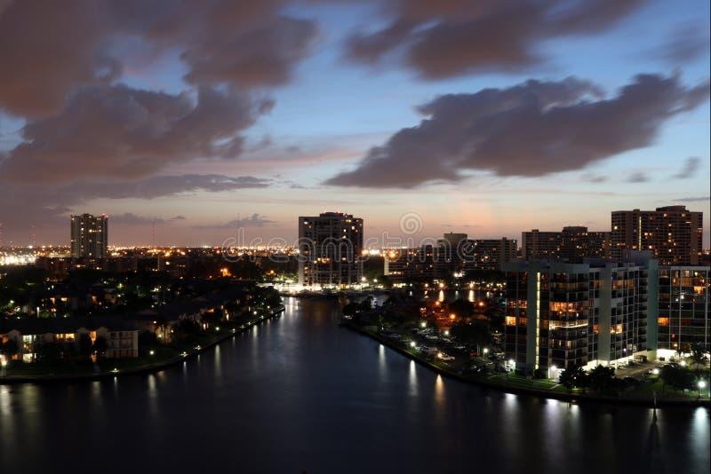 Miami sunset city landscape stock images