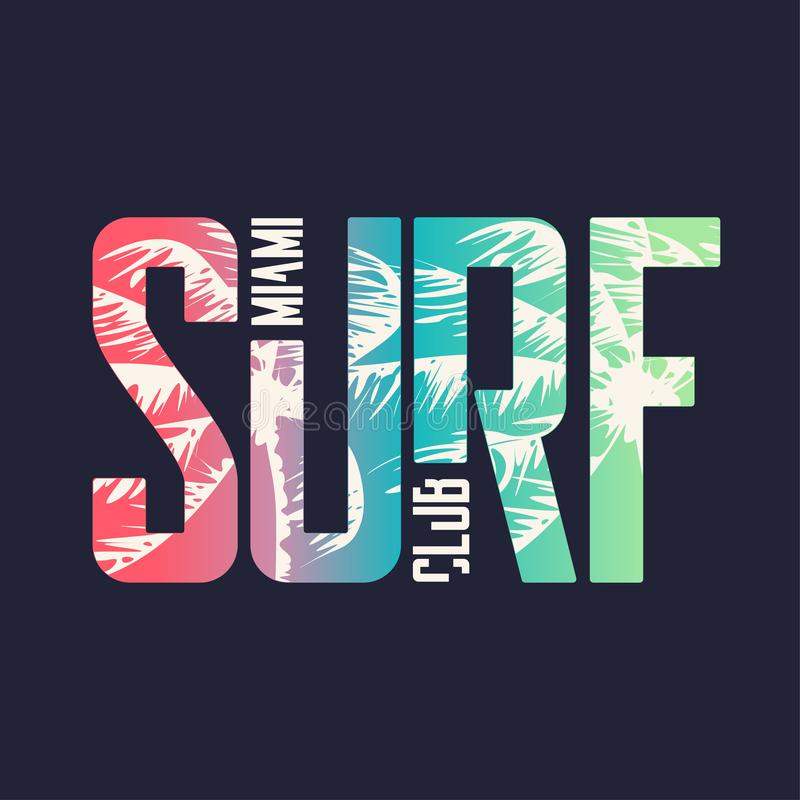 Miami surf club. Graphic t-shirt design, typography, print. Vector illustration.  stock illustration