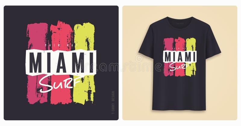 Miami surf. Graphic tee shirt design, grunge styled print. Vector illustration royalty free illustration