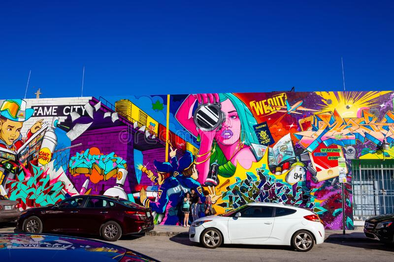 Miami, United States of America - November 30, 2019: Art Wynwood in Miami, USA. Wynwood is a neighborhood in Miami Florida which has a strong art culture stock photo