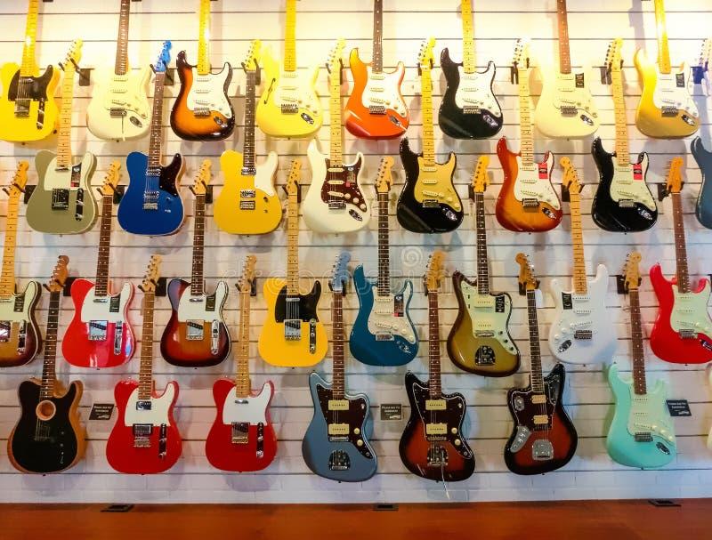 Miami, United States of America - November 30, 2019: guitars at Walt Grace Vintage Guitars shop. At Miami, United States of America royalty free stock photos