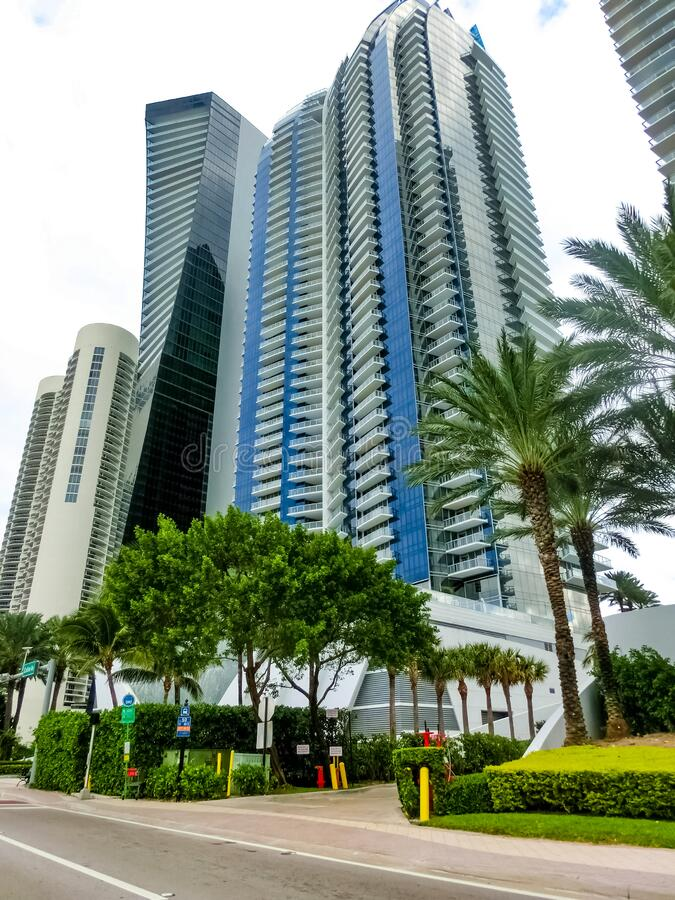 Miami, United States of America - November 30, 2019: Street with famous hotels at Collins Avenue in Miami. Beach royalty free stock image