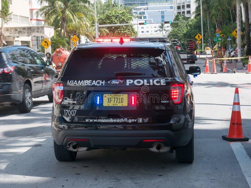 Miami, USA - August 2019. A police car of the Miami Beach police on a street near the beach.  royalty free stock photo