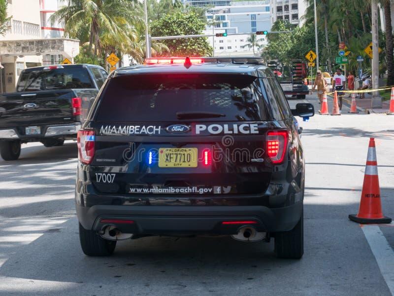 Miami, USA - August 2019. A police car of the Miami Beach police on a street near the beach.  royalty free stock photos
