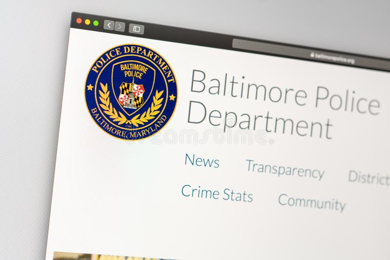 Baltimore Police Department website homepage. Close up of Police Dept logo. Miami / USA - 05.11.2019: Baltimore Police Department website homepage. Close up of royalty free stock image