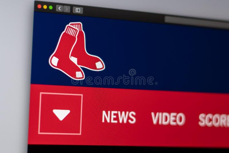 Baseball team Boston Red Sox website homepage. Close up of team logo. stock photos
