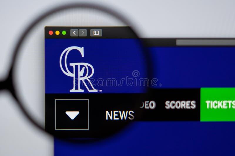 Baseball team Colorado Rockies website homepage. Close up of team logo. Miami / USA - 04.20.2019: Baseball team Colorado Rockies website homepage. Close up of stock photography