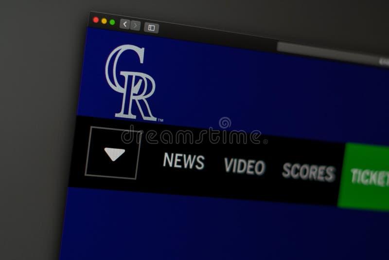 Baseball team Colorado Rockies website homepage. Close up of team logo. Miami / USA - 04.20.2019: Baseball team Colorado Rockies website homepage. Close up of royalty free stock photo