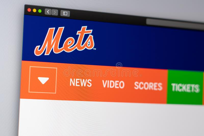 Baseball team New York Mets website homepage. Close up of team logo royalty free stock photography