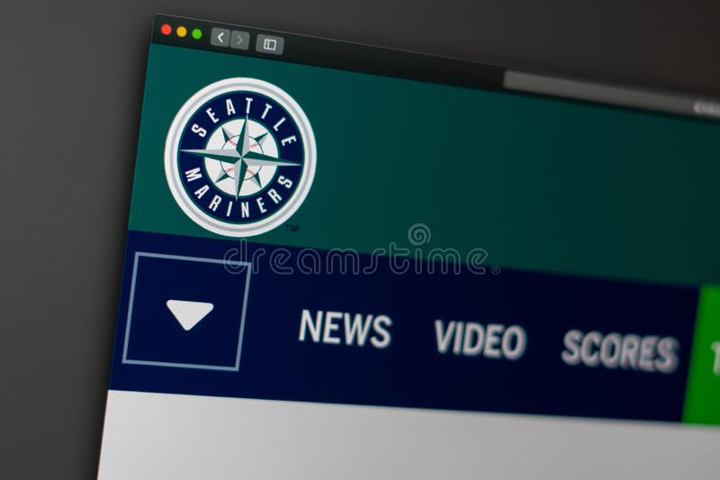 Baseball team Seattle Mariners website homepage. Close up of team logo. Miami / USA - 04.20.2019: Baseball team Seattle Mariners website homepage. Close up of stock images