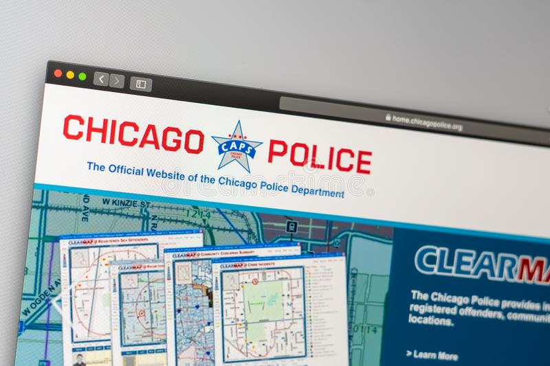 Chicago Police Department website homepage. Close up of Police Department logo. Miami / USA - 05.11.2019: Chicago Police Department website homepage. Close up royalty free stock image