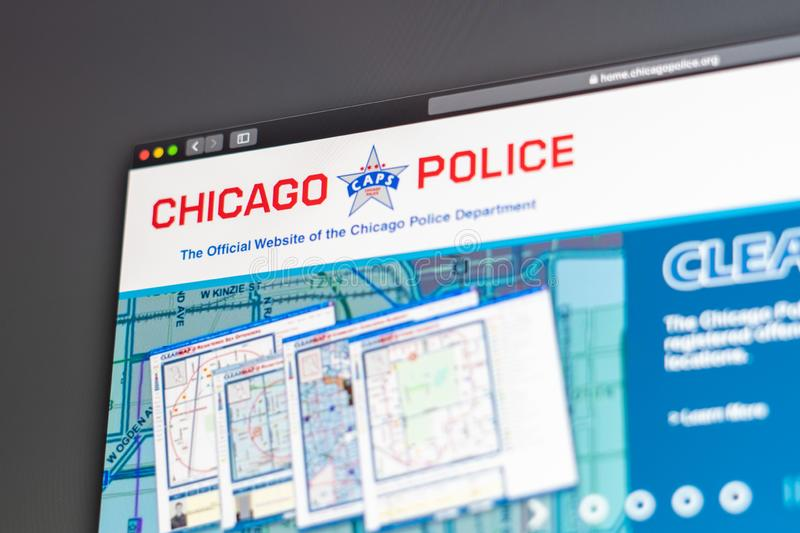 Chicago Police Department website homepage. Close up of Police Department logo. Miami / USA - 05.11.2019: Chicago Police Department website homepage. Close up royalty free stock photo