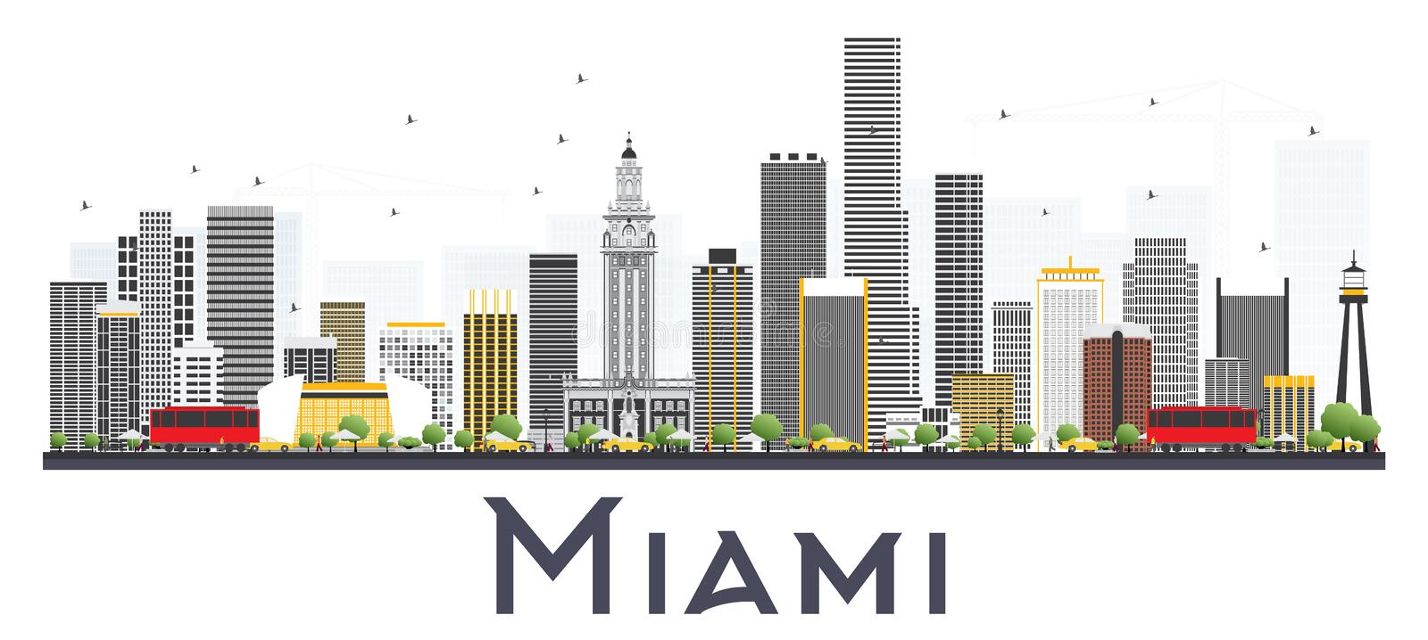 Miami USA City Skyline with Gray Buildings Isolated on White Background. Vector Illustration. Business Travel and Tourism Concept with Modern Buildings. Miami vector illustration