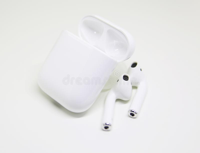 Miami, USA - FEBRUARY 6, 2018: AirPods headphones stock images