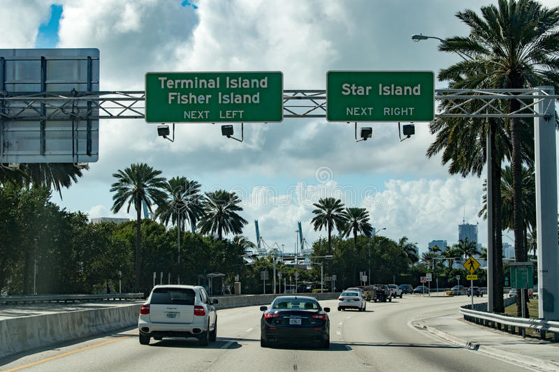 MIAMI, USA - FEBRUARY 7, 2017 - Florida congested highways royalty free stock photography