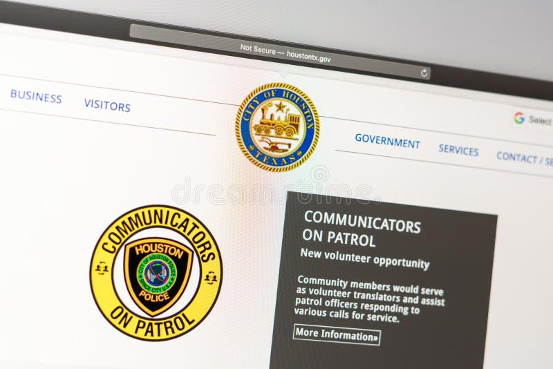 Houston Police Department website homepage. Close up of Police Dept logo. Miami / USA - 05.11.2019: Houston Police Department website homepage. Close up of royalty free stock image