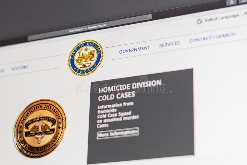 Houston Police Department website homepage. Close up of Police Dept logo. Miami / USA - 05.11.2019: Houston Police Department website homepage. Close up of royalty free stock photography
