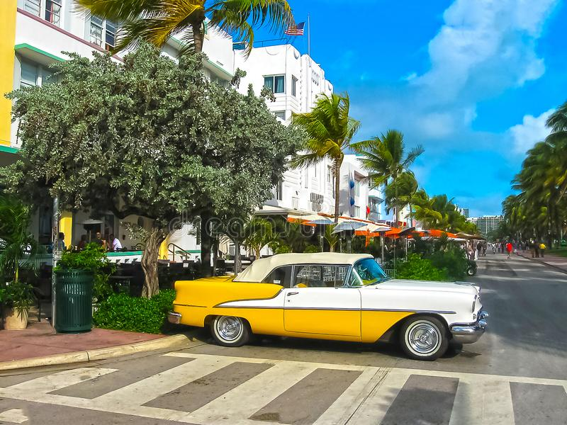 Miami, USA - January 01, 2014: Ocean drive buildings on january 3rd 2014 in Miami South Beach, Florida. Art Deco royalty free stock photo