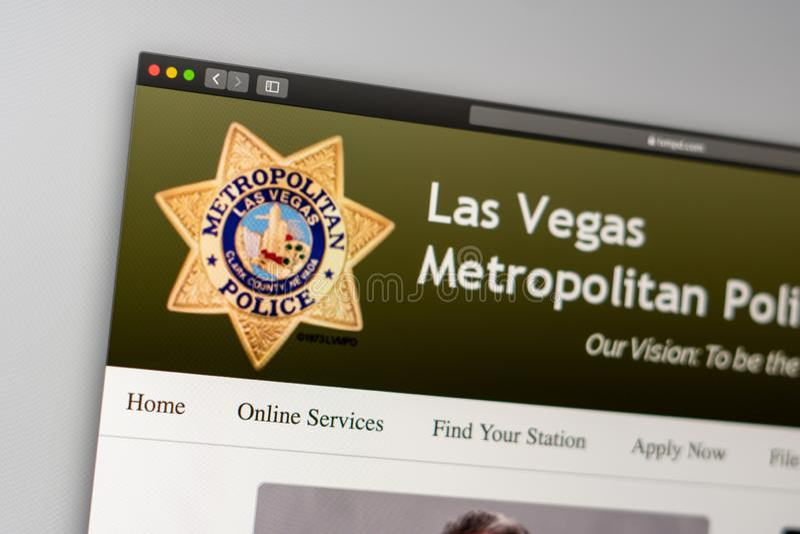 Las Vegas Police Department website homepage. Close up of Police Dept logo. Miami / USA - 05.11.2019: Las Vegas Police Department website homepage. Close up of stock photography
