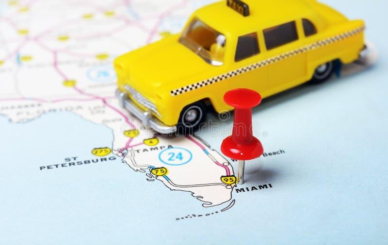 miami usa map taxi stock image. image of thumbtack, point