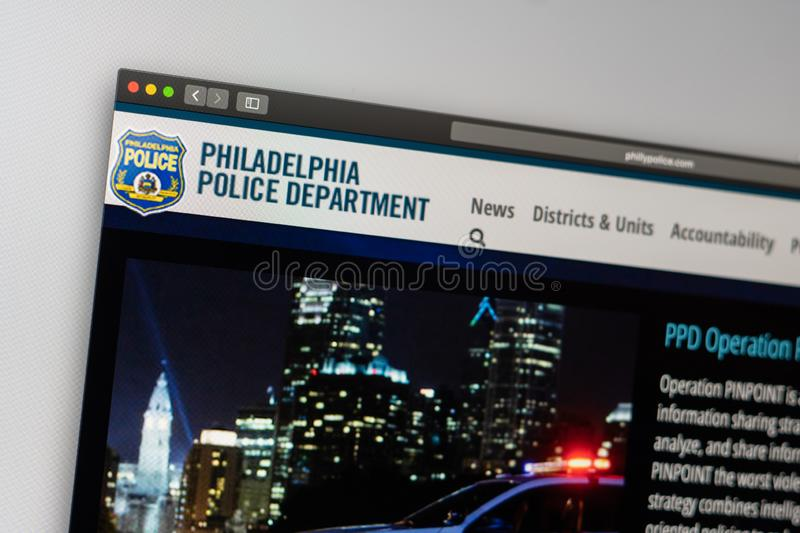 Philadelphia Police Department website homepage. Close up of Police Dept logo. Miami / USA - 05.11.2019: Philadelphia Police Department website homepage. Close royalty free stock images