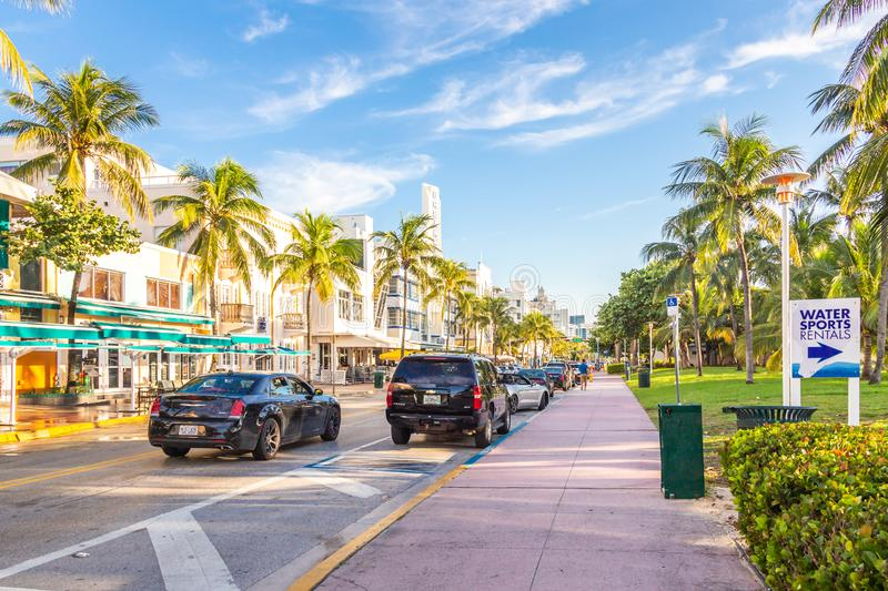 Miami, USA - September 09, 2019: The view of famous Ocean Drive street in the morning in Miami South Beach in Florida royalty free stock photo