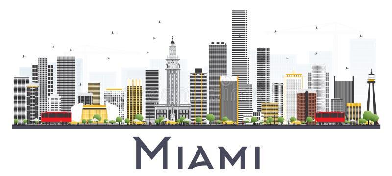 Miami USA stadshorisont med Gray Buildings Isolated på vitBac vektor illustrationer